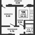 1-комнатная квартира, УЛ. БЖЕГОКАЙСКАЯ, 21