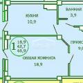 1-комнатная квартира, Горсоветская 57