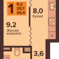 1-комнатная квартира, УЛ. ГЕНЕРАЛА ТОЛСТИКОВА, 15