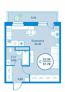 Продается квартира-cтудия за 2 150 000 рублей. Тюмень, Калининский, ул. Вадима Бованенко, 1.