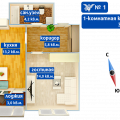 1-комнатная квартира,  ул. Взлетная, 4