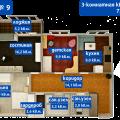 3-комнатная квартира,  ул. Взлетная, 4