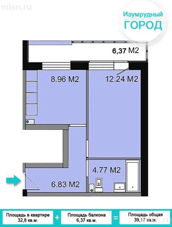 1-комнатная квартира, дом 213, м-н берёзовый (около академго.