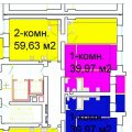 2-комнатная квартира, УЛ. ОКТЯБРЬСКАЯ, 107