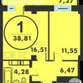 1-комнатная квартира, УЛ. КРЕМЛЕВСКАЯ, 102 К1