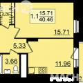 1-комнатная квартира, УЛ. ЗАЛЕСНАЯ, 1-3