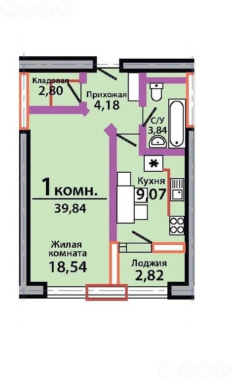 Продается 1-комнатная квартира, 40 м? квартира в новом, крас.