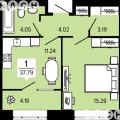 1-комнатная квартира, ГП, 19