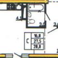 1-комнатная квартира, Кривошеина 13Б