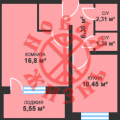 1-комнатная квартира, САМАРА, КРАСНОГВАРДЕЙСКАЯ, 3