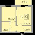 1-комнатная квартира, ПР-КТ. МОЛОДЕЖНЫЙ, 70Б