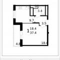 1-комнатная квартира, Микрорайон 17А, 32