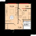 1-комнатная квартира, УЛ. ДОСТОЕВСКОГО, 52
