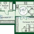 1-комнатная квартира, Велижанская