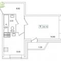 1-комнатная квартира, Европейский пр. 14