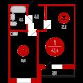 1-комнатная квартира, Линейная д. 17