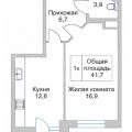 1-комнатная квартира, Академика Сахарова д. 64