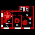 2-комнатная квартира, Барабинская д. 1