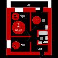 2-комнатная квартира, Интернациональная д. 199