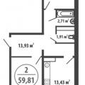 2-комнатная квартира, Закалужская д. 11