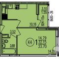 1-комнатная квартира, УЛ. БОРОДИНА, 43