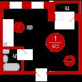 1-комнатная квартира, Харьковская д. 68