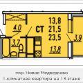1-комнатная квартира, МЫТИЩИ, МИКРОРАЙОН 17А, 22А
