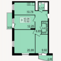 3-комнатная квартира, Залесная, 1-2