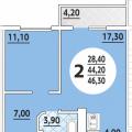 2-комнатная квартира,  ул. им 40-летия Победы, 184 к1