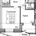 1-комнатная квартира, УЛ. ХОЛЬЗУНОВА, 38