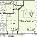 1-комнатная квартира, БОГОРОДСКИЙ Р-Н, НОВИНКИ П.  НИЖЕГОРОДСКАЯ 1