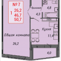 1-комнатная квартира, Ленинский проспект