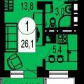 1-комнатная квартира, ТИХИЕ ЗОРИ МКР, 1