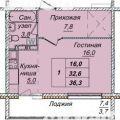 1-комнатная квартира,  пр-кт. Кузбасский, 7 стр